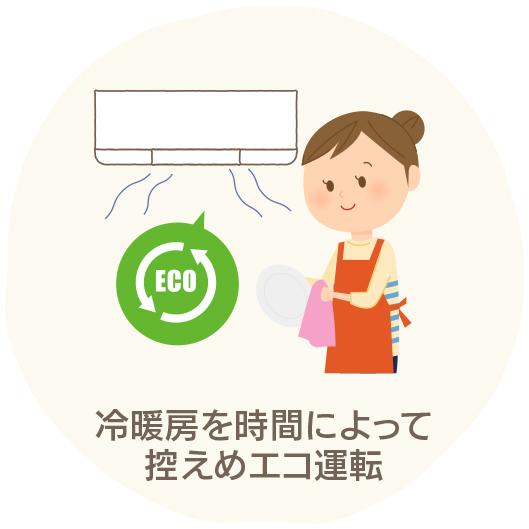 冷暖房を時間によって 控えめエコ運転